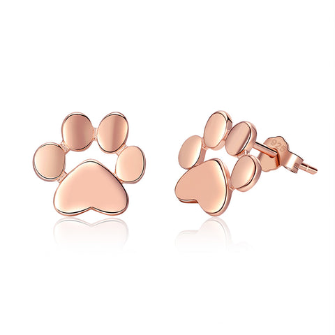 S925 Sterling Silver Rose Gold Plated Pet's Footprint Stud Earrings