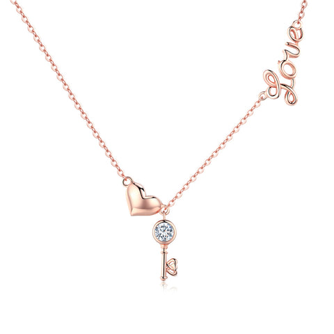 925 Sterling Silver Rose Gold Plated Heart&Key Necklace For Girls