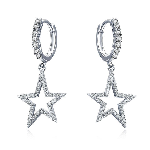 925 Sterling Silver  Star Drop Earrings with Bling Cubic Zircons Gift for Women
