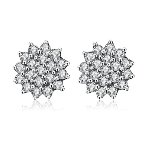 S925 Sterling Silver Crystal Flower Stud Earrings