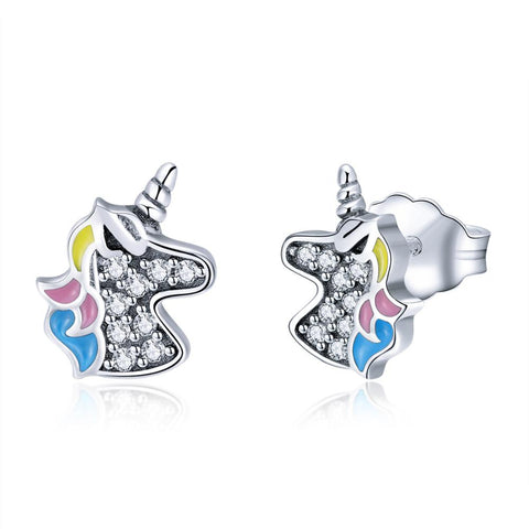 925 Sterling Silver CZ Colorful Unicorn Stud Earrings