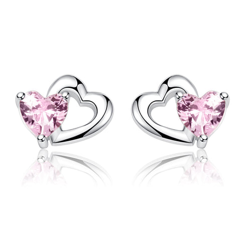 925 Sterling Silver Pink Zircon Heart Stud Earrings