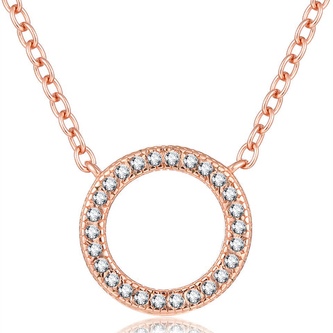 925 Sterling Silver Rose Gold Plated Fashion Circle Necklace