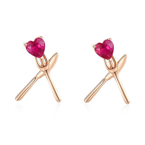925 Sterling Silver Rose Gold Plated Zircon Heart Stud Earrings