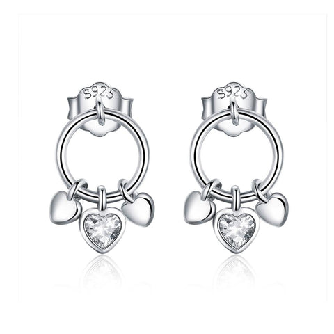 925 Sterling Silver  Heart Stud Earrings