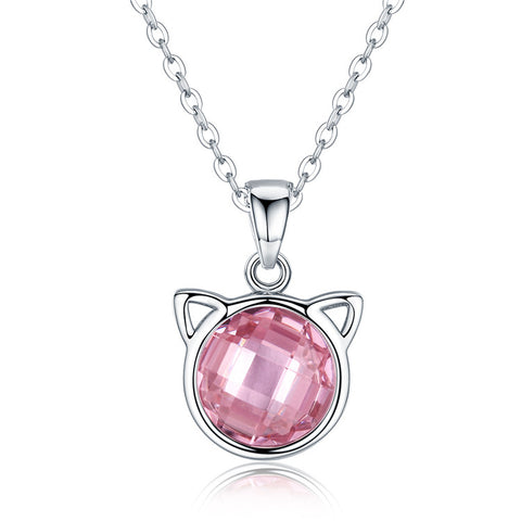 925 Sterling Silver Pink Zircon Fashion Elegant Necklace  For Girls