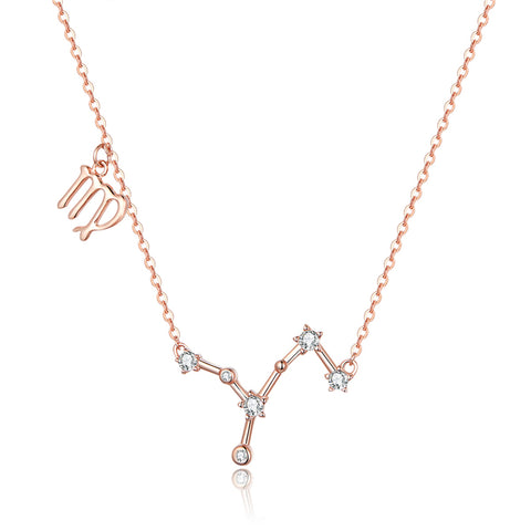 925 Sterling Silver Rose Gold Plated Necklace Fashion Virgo Jewelry For Girls
