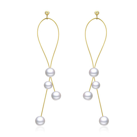 925 Sterling Silver Gold Plated Tassel Pearl Drop Earrings