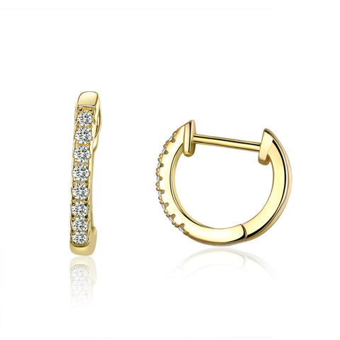 S925 Sterling Silver Plated Gold Small Circle Hoop Earrings For Girls