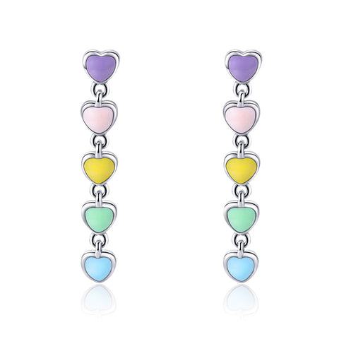 925 Sterling silver Heart  Rainbow Color Stud Earrings