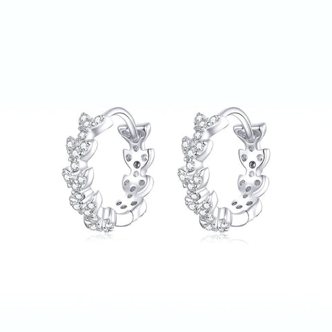 925 Sterling Silver  Dazzling CZ Plant  Shiny Leaf Hoop Earrings