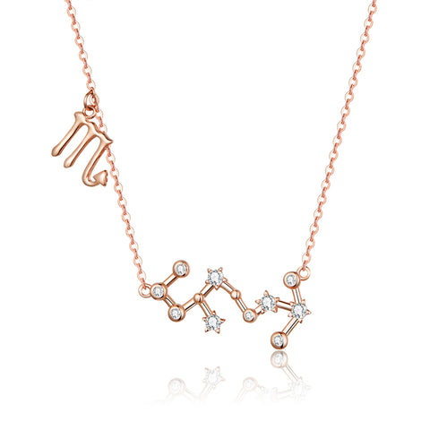 925 Sterling Silver Scorpio Rose Gold Plated Necklace For Girls