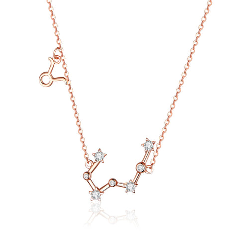 925 Sterling Silver Taurus Rose Gold Plated Necklace