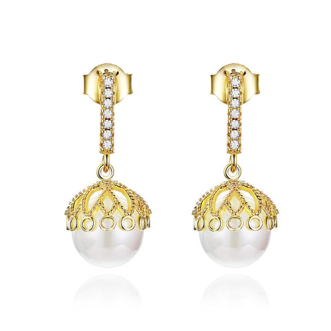 925 Sterling Silver Plated Gold Pearl  Drop  Earrings