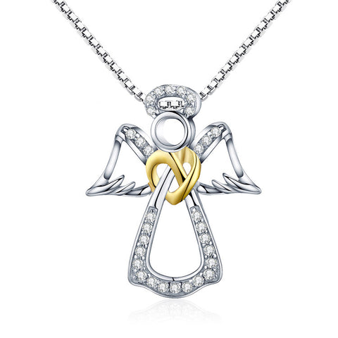 925 Sterling Silver Guardian Angel Necklace For Girls