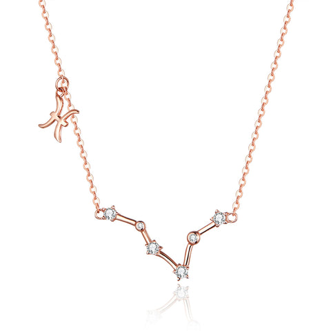 925 Sterling Silver  Pisces Rose Gold Plated Pendant Necklace