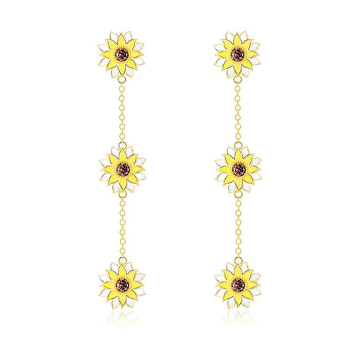 Sunflower Tassels Earrings Enamel Process Woman Gold Plated Flower Line Drop Earrings Birthday Gift for Woman Girls Lover