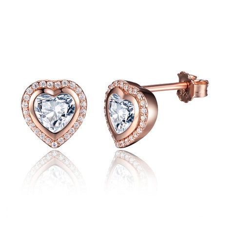 S925 Sterling Silver Rose Gold Plated Heart Shaped Stud  Earring For Women