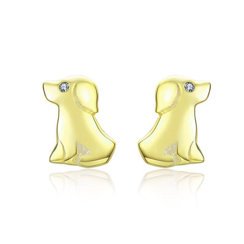 925 Sterling Silver Yellow Gold Plated Zircon Cute Puppy  Stud Earrings For Girls