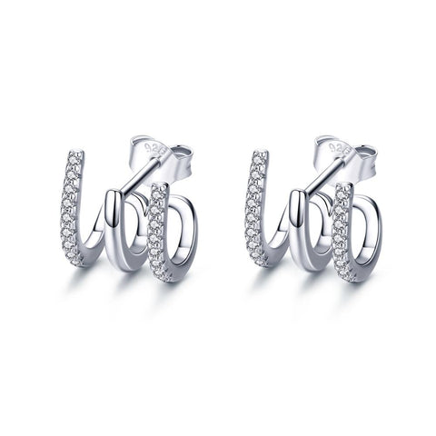 925 Sterling Silver Plated Platinum Twist Stud Earrings