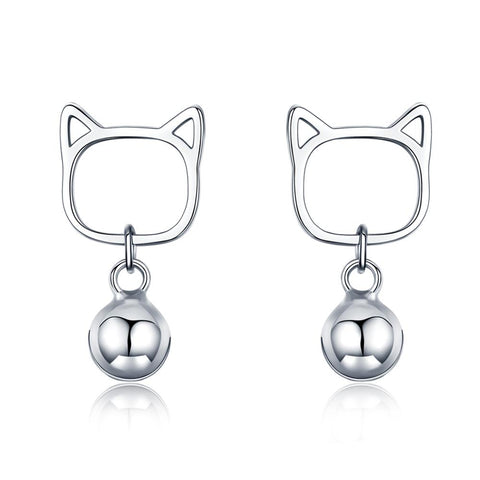 925 Sterling Silver Lovely Kitty Cat Stud Earrings  for Women