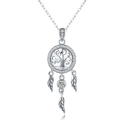 S925 Sterling Silver Dream catcher  Necklace