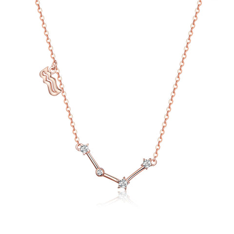 925 Sterling Silver Aquarius Rose Gold Plated Pendant Necklace