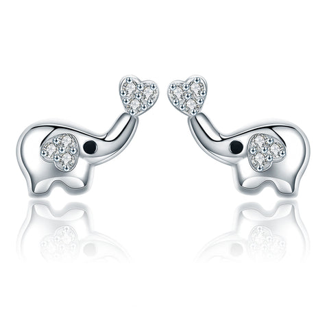 S925 Sterling Silver  Elephant zircon Stud Earrings