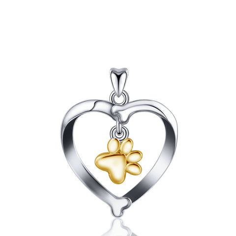 925 Sterling Silver Rhodium Plated Heart Pendant  Dog Bone Gold Plated without chain
