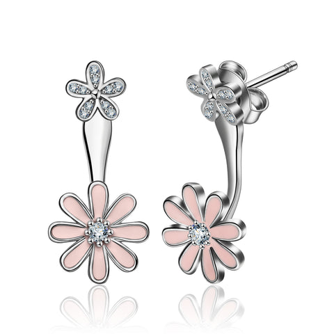 S925 Sterling Silver Flower Leaf  Big Cz Jackets Earrings Jewelry Set For Women