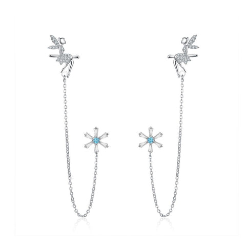 S925 Sterling silver Fairy Dangle Drop Stud Earring Chain Cuffs Earring for Women