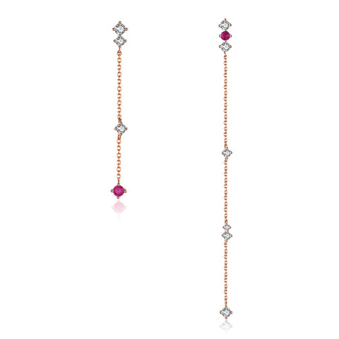 925 Sterling Silver Plated  Rose Gold Zircon  Long Chain Earrings