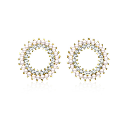 925 Sterling Silver Plated Gold Circle  Pearl Zircon Stud Earrings