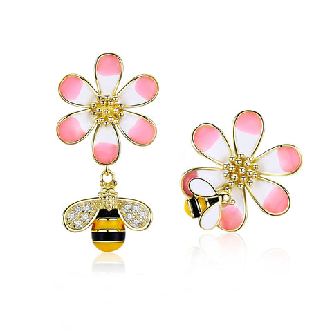 925 Sterling Silver Plated Gold Zircon Bee Flower Stud Earrings
