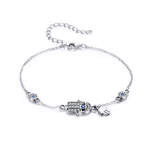 925 Sterling Silver Hamsa Hand of Fatima Evil Eye Bracelet Blue Cubic Zirconia Chain Adjustable Bracelet