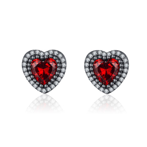 925 Sterling Silver Zircon Heart Shape  Stud Earrings