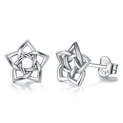 925 Sterling Silver Accessories  Knot Stud Earrings Jewelry Set For Women