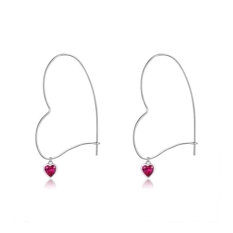 S925 Sterling silver Heart Big Hoop Earring Dangle Drop Earring Gifts for Women