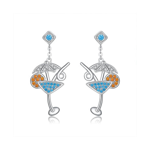 925 Sterling Silver Cocktail Glass Drop Earrings Stunning Crystal Earrings for Women