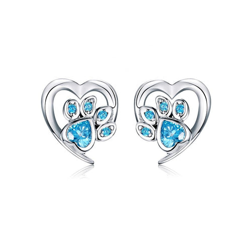 S925 Sterling Silver Cute Heart CZ Cat Puppy Paw Print Stud Earrings for Women