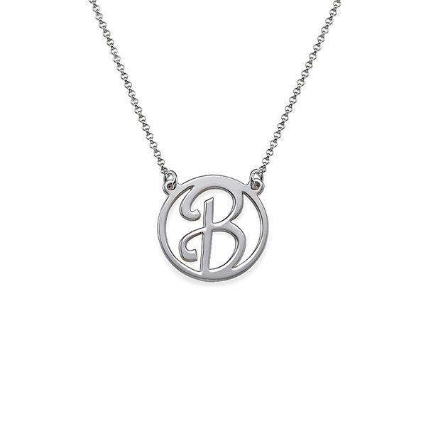 925 Sterling Silver Personalized Cut Out Initial Pendant Necklace