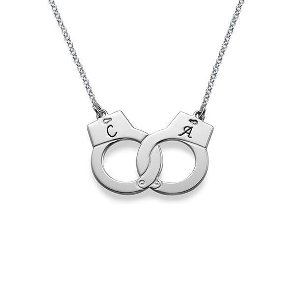 925 Sterling Silver Personalized Handcuff Necklace