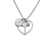 "925 Sterling Silver Personalized Cross Baptism Necklace with Initial Disc Adjustable 16""-20"""