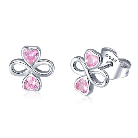 925 Sterling Silver Pink Heart CZ Infinity Stud Earrings For Valentines'Day