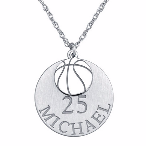 "925 Sterling Silver Round Basketball Personalized Engraved Adjustable 16""-20"" Necklace"