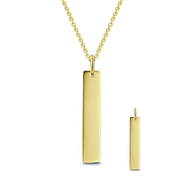9K GOLD ENGRAVABLE VERTICAL BAR NECKLACE