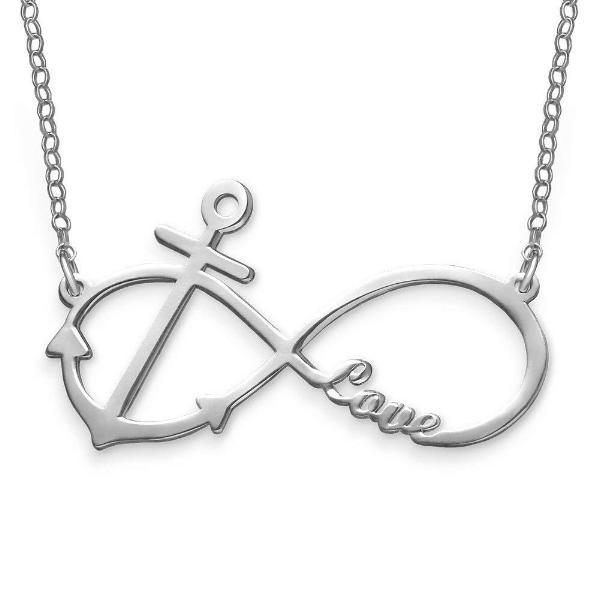 "925 Sterling Silver Personalized Infinity Anchor Pendant Necklace Adjustable 16""-20"""