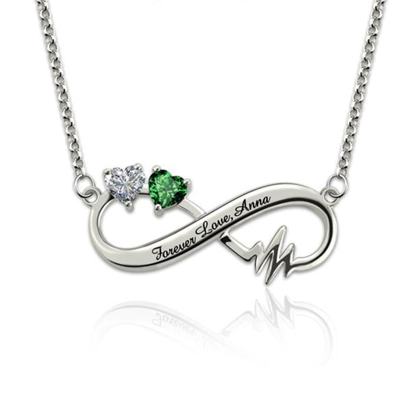925 Sterling Silver Personalized Heartbeat Infinity Necklace With Birthstones - 925 Sterling Silver OEM And Customization