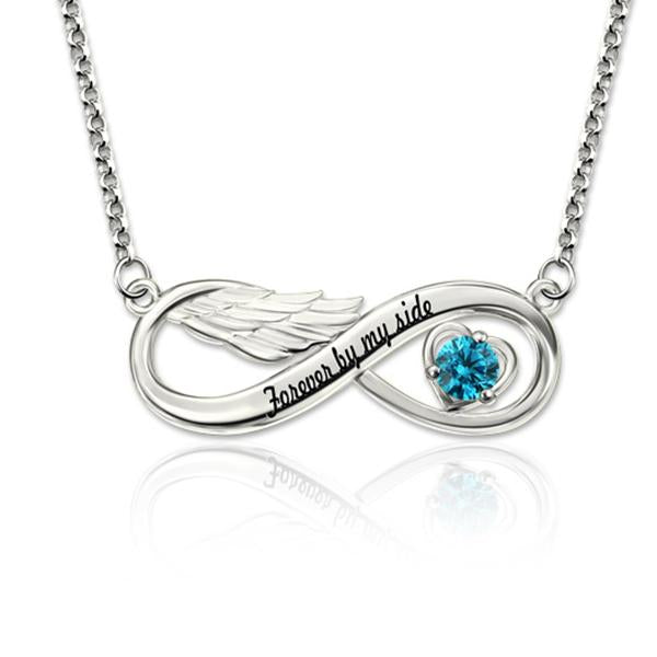 925 Sterling Silver Personalized Infinity Angel Wing Necklace With Birthstone Adjustable 16'-20'
