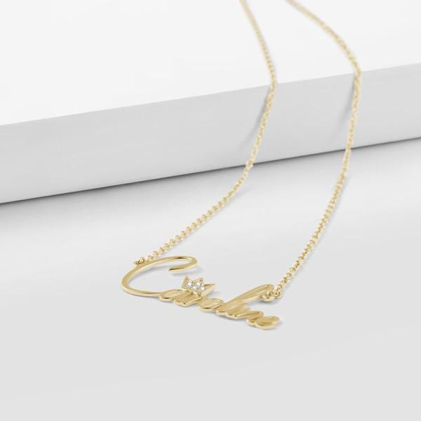 Classic Name Necklace With Crown- 14K Gold